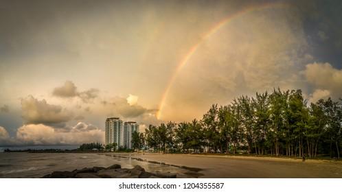 Rainbow at Tanjong Lobang Beach Miri, Sarawak.