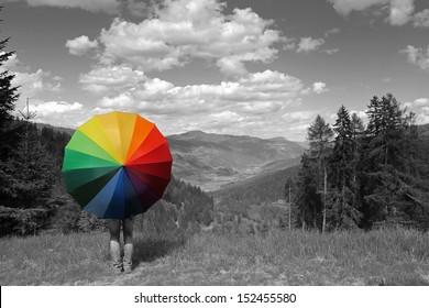 Rainbow umbrella at the Alps