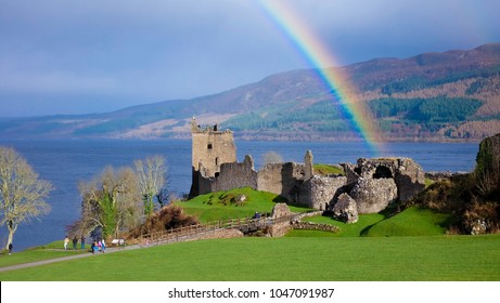 Rainbow in Urquhart Castle along Loch Ness lake in Scotland in a beautiful summer day, United Kingdom