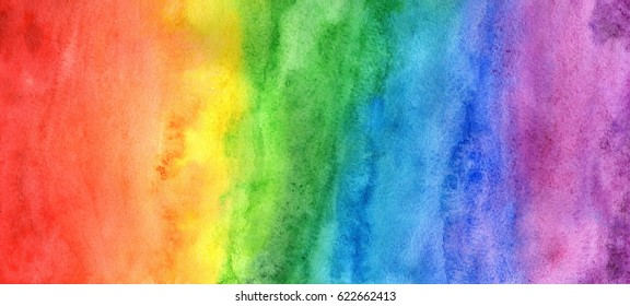 Rainbow in watercolor