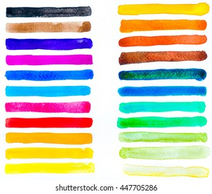 Rainbow Watercolor elements for design with Brush Smears.