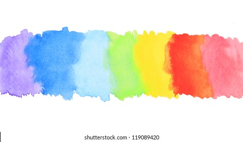 Rainbow watercolor paint stripe