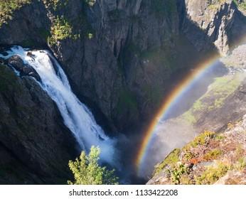 Rainbow and Waterfall Voringfossen, Eidfjord Norway