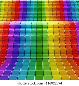 Rainbow waves. High quality 3d render