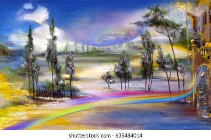 Rainbow wind in beautiful landscape