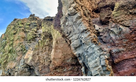 """Rainbow-colored rock landscape in the colors purple, green, gray and blue on the """"Los Muchachos"""" on """"the island"""" La Palma """"."""