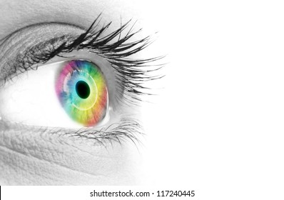 Rainbows color in a beautifull woman's eye