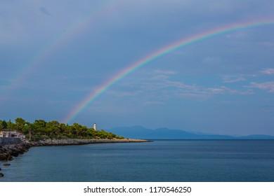 Rainbows on the sea