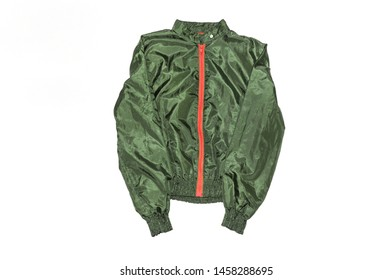 Raincoat jacket in green isolated on white background. Sports clothing. Windbreaker. Outerwear