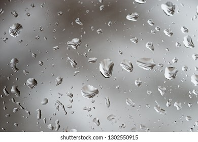 raindrops on a window on a gray rainy day with a very out of focus bare tree behind