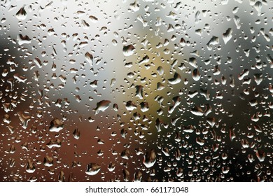 Raindrops on window , rainy day