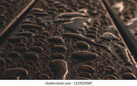 Raindrops on wood surface