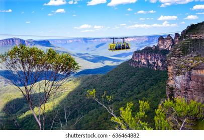 Rainforest cableway landscape in Blue Mountains, Australia