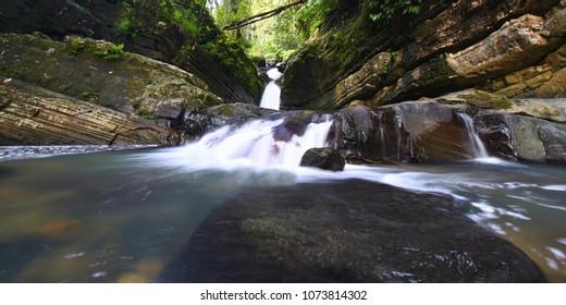 Rainforest cascade above La Mina Falls in Puerto Rico