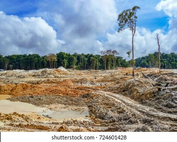 Rainforest destruction. Gold mining place in Guyana, South America. Similar as in Brazil. Amazon and Essequibo basin deforestation. Brazil deforestation. Venezuela deforestation.