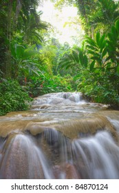 Rainforest river with a small cascade