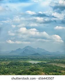 Rainforests, swamps and mountains. View from above. Photo from Sigiriya, Polonnaruwa, Sri Lanka