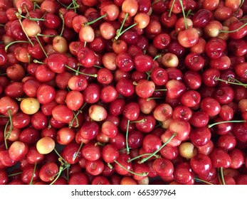 Rainier cherries, macro view, texture, background, wallpaper, close up