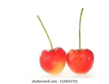 Rainier cherry on white background