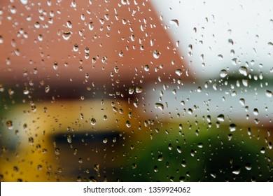 It's raining against a window pane