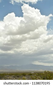 raining cloudy landscape in Mojave Desert town Pahrump, Nevada