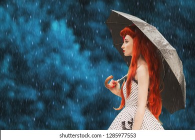 Raining cold weather. Autumn rain. Sick girl with virus in dress hold umbrella. Umbrella protection. Lonely woman with disease was caught in cold rain. Sick girl flu virus ask help. Autumn flu