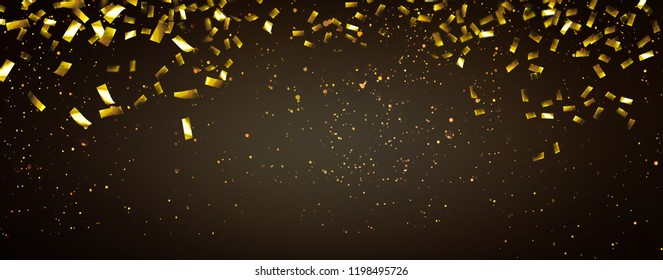 raining gold confetti party background with advertising space