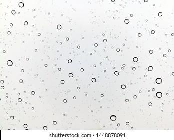 Raining with rainbow on glass window background