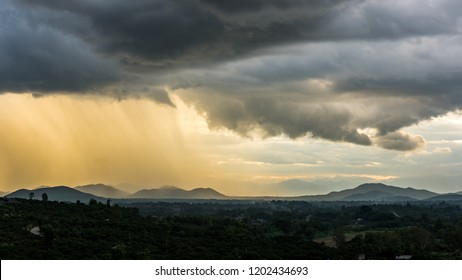 raining and storm clouds over the Mountain Village