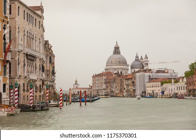 It rains on the Grand Canal of Venice