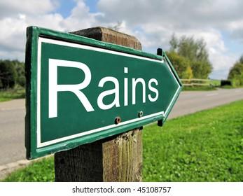 RAINS road sign