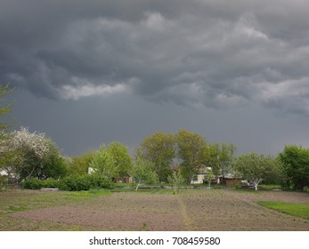 rainy clouds in the village backyard