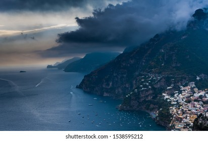 Rainy and cloudy scenic view to Positano