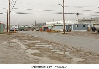 Rainy Day in  the Arctic on Iqaluit in Nunavut, Canada
