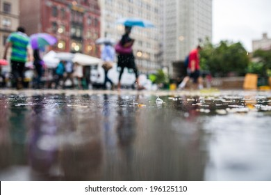 Rainy Day in the City with People Holding Umbrellas in the Background