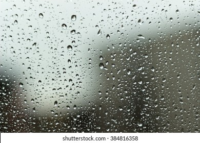 Rainy day, drops on the window.