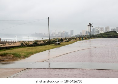 Rainy day at durban beachfront with buildings in background