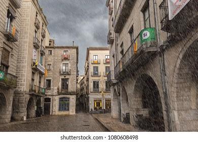 Rainy day in Girona, Catalonia