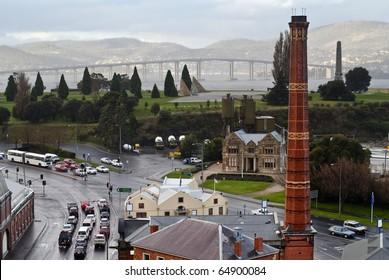 Rainy day in Hobart, Tasmania, Australia. Unique views of old gasworks tower, the Domain, Tasman Bridge and the eastern shore.