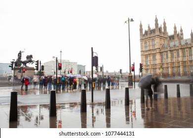 rainy day in London city