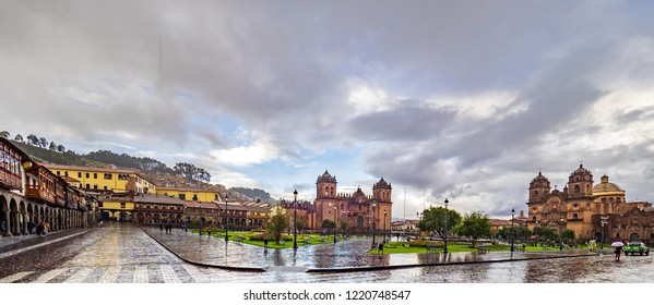 Rainy day in the Plaza de Armas square in Cusco, Peru