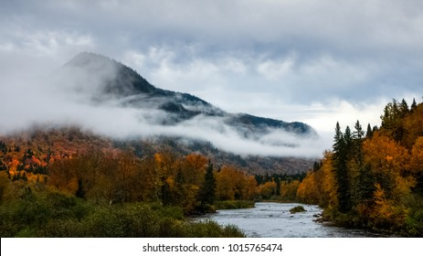 Rainy day a the river as the clouds touch the ground in the forest, at Fall, Quebec, Canada