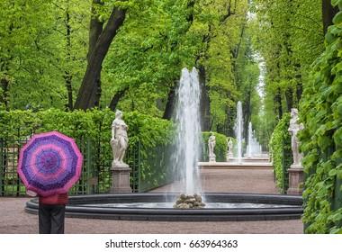 Rainy day. The Summer Garden in St.-Petersburg, Russia