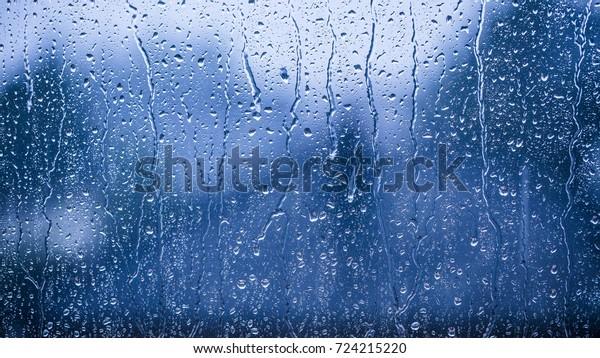 rainy days rain drops on the window surface
