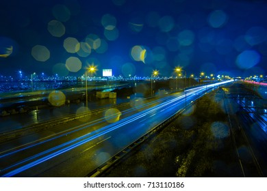 A rainy evening at the A4 highway at Schiphol Airport Holland.