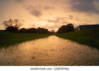 Rainy Golden Sunset