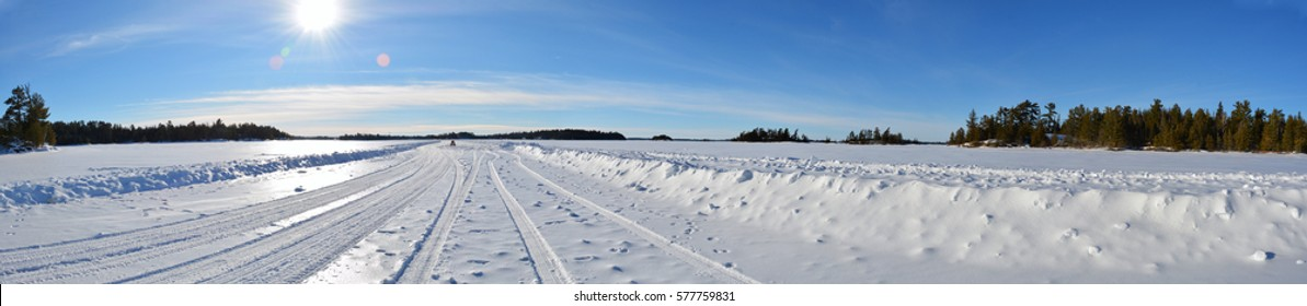 Rainy Lake Ice Road - International Falls, Minnesota - Sunny Winter's Day