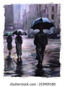 rainy New York Street Umbrellas Vintage oil painting Torn Edges