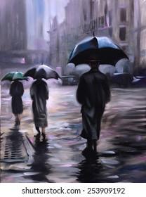 rainy New York Street Umbrellas Vintage oil painting