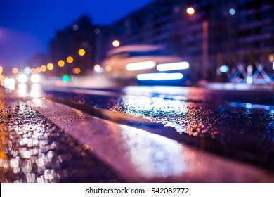Rainy night in the big city, the racing cars on the wet road. Close up view from the level of the dividing line